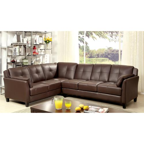 Furniture of America Pierson Double Stitched Leatherette Sectional Brown