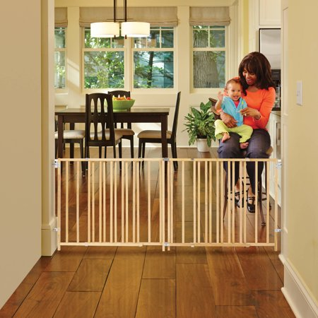 North State Natural Wood Extra Wide Swing Baby Gate,