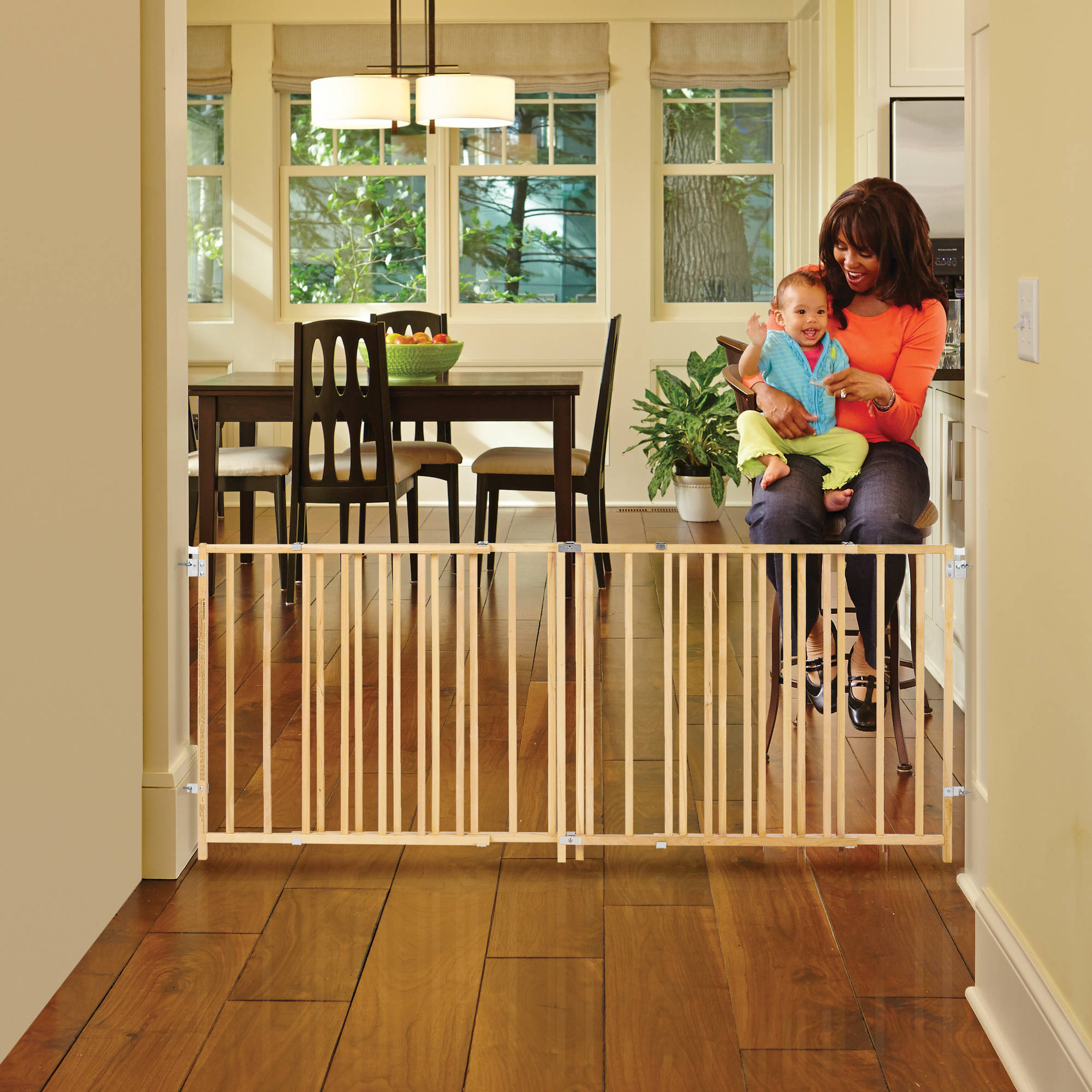 Product Image North State Natural Wood Extra Wide Swing Baby Gate, ...