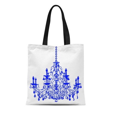 SIDONKU Canvas Tote Bag Wall Pixdezines Royal Blue Chandelier Crystal Dazzling Reusable Handbag Shoulder Grocery Shopping Bags