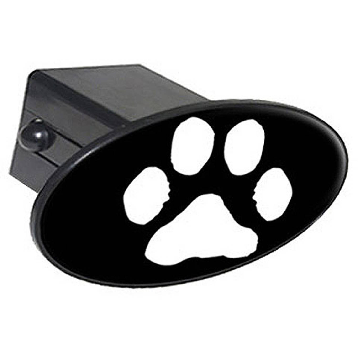 """Paw Print White On Black 2"""" Oval Tow Trailer Hitch Cover Plug Insert"""
