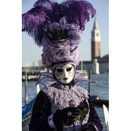 Lady in Black and Purple Mask and Feathered Hat, Venice Carnival, Venice, Veneto, Italy Print Wall Art By James Emmerson ()