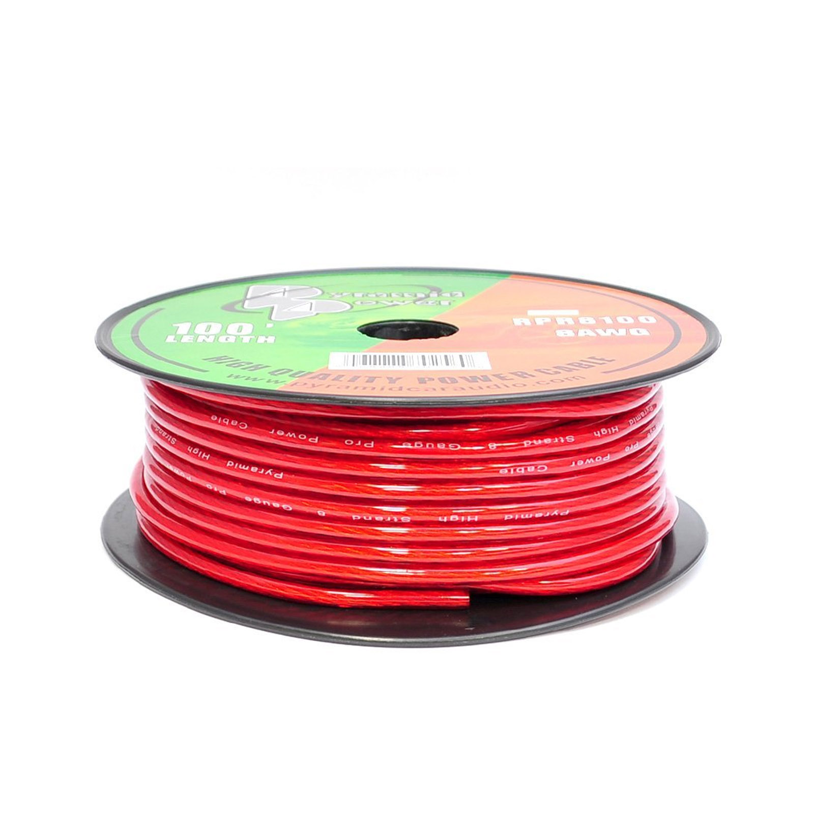 Pyramid 8 Gauge Clear Red Power Wire 100 ft. OFC