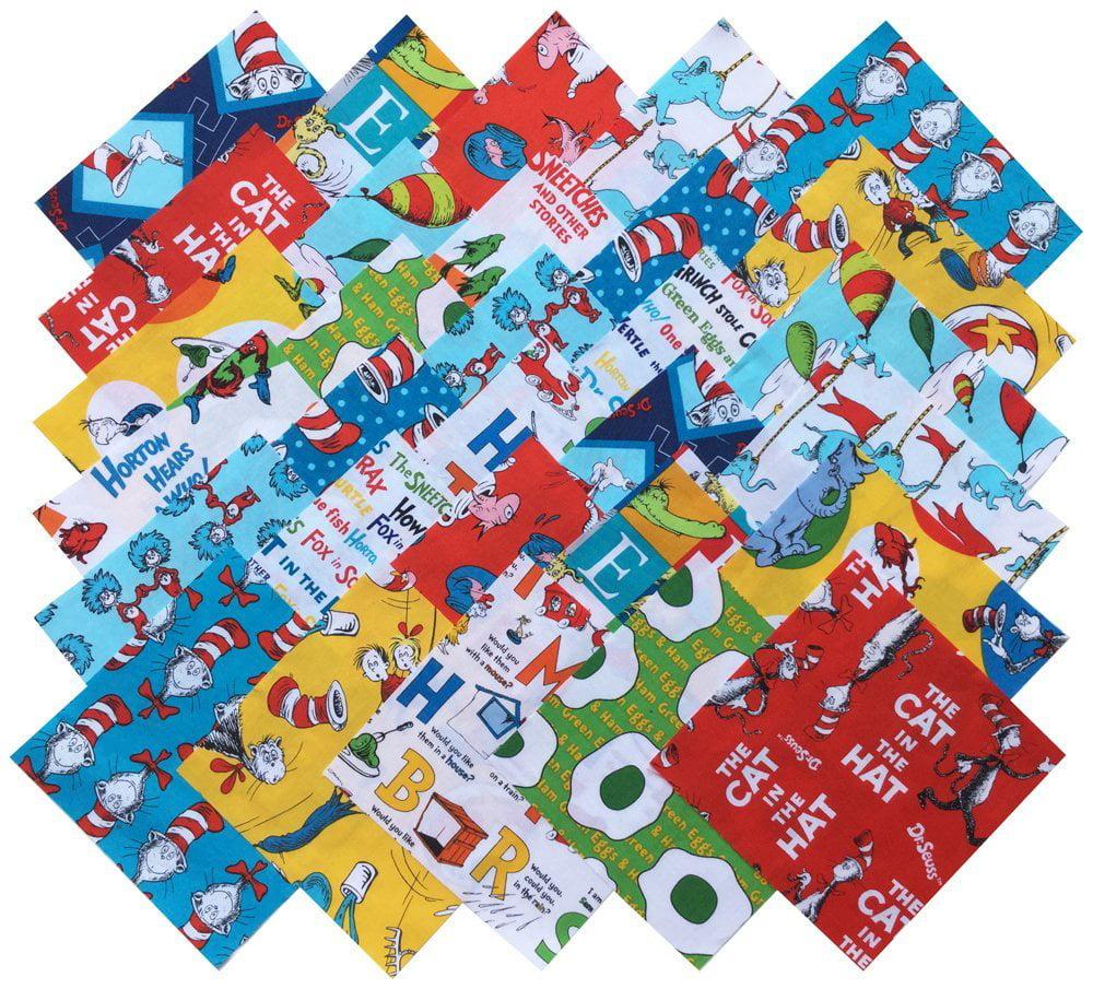 """Robert Kaufman Dr. Seuss Precut 6.5"""" Fabric Quilting Cotton Squares"""