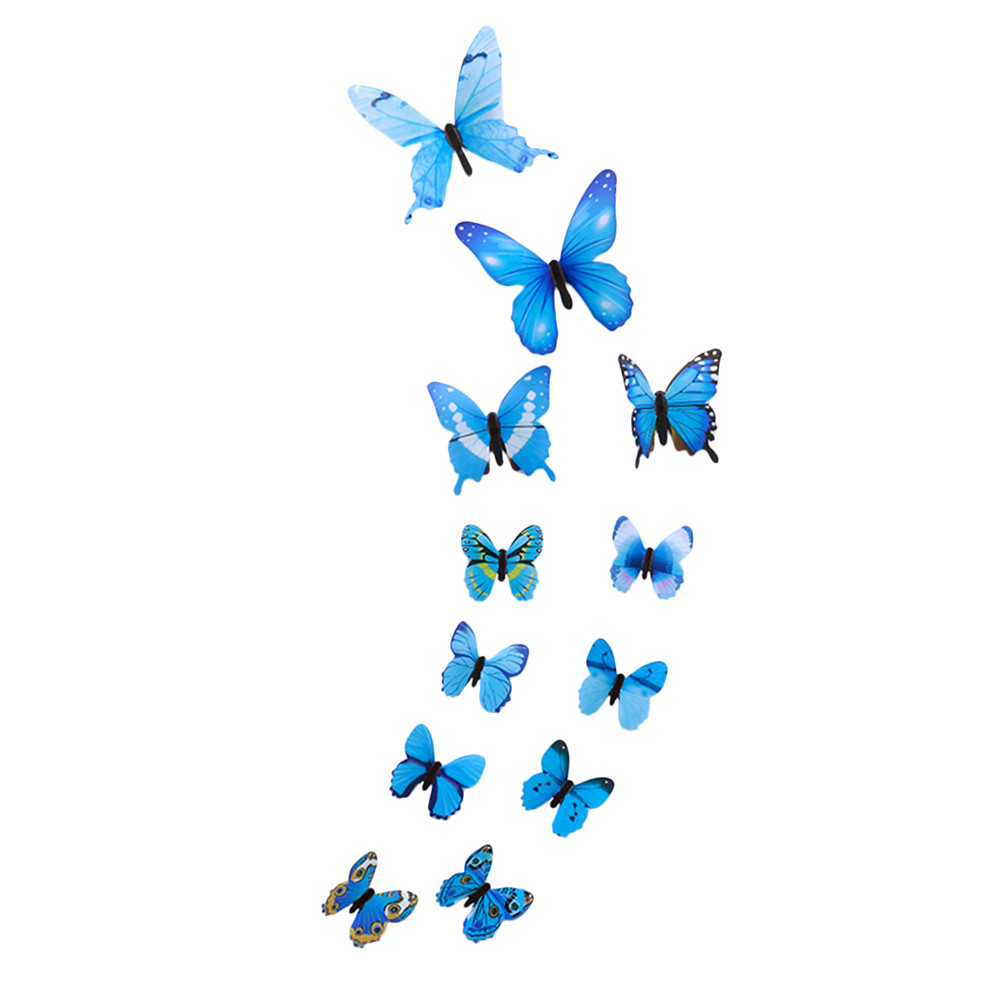 12pcs Luminous Butterfly Design Decal Art Wall Stickers Room Magnetic Decor BU