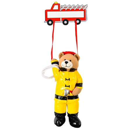 Plush Fireman Bear Hanging Name Plaque, Wood plaque can be customized with child