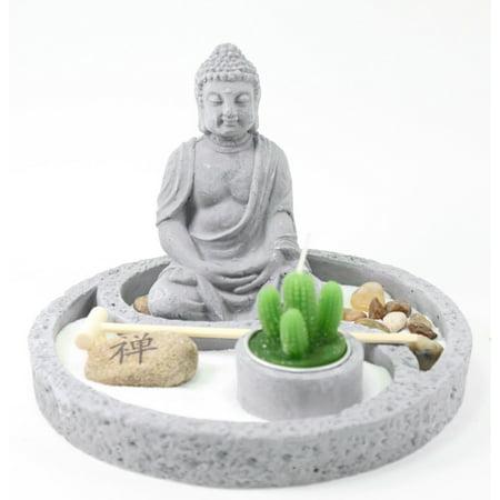 Tabletop Buddha Zen Garden Rock Rake Sand Cactus Candle Holder Home Decor (Sand Rock Garden)