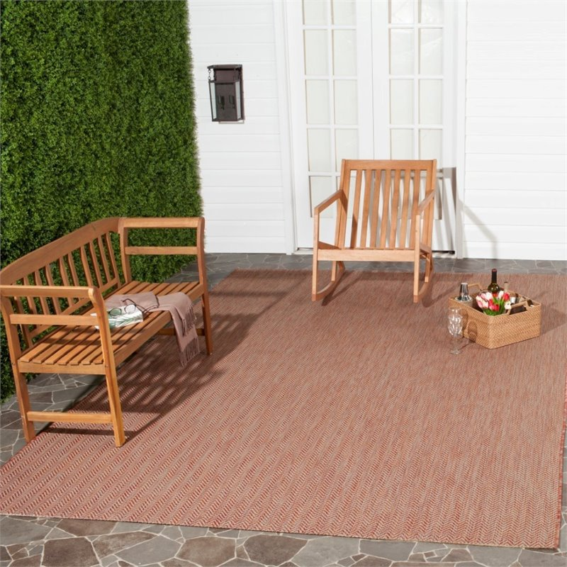 """Safavieh Courtyard 2'3"""" X 12' Power Loomed Rug in Red and Beige - image 6 of 7"""