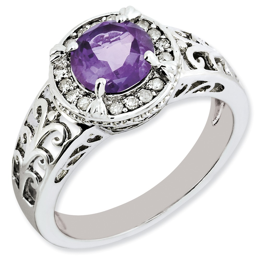 925 Sterling Silver Round Halo Fleury Design Amethyst and Diamond Ring