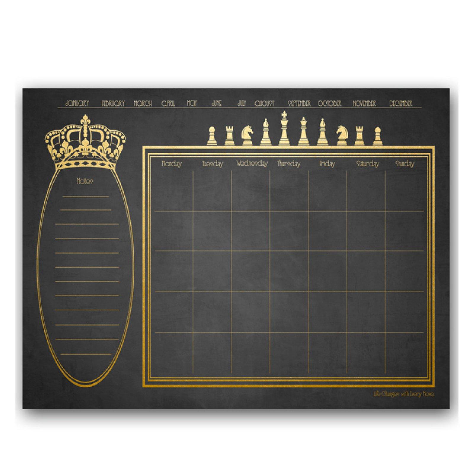 Ready2HangArt Regal Monthly Dry Erase Calendar - Gold / Slate