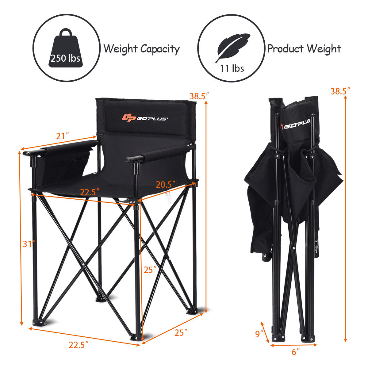 """Portable 38"""" Oversized High Outdoor Beach Chair Camping Fishing Folding Chair - image 5 de 10"""