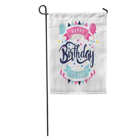 SIDONKU Anniversary Modern Happy Birthday Clean Flat Hand Lettering Balloon Birth Garden Flag Decorative Flag House Banner 12x18 inch](Happy Birth)