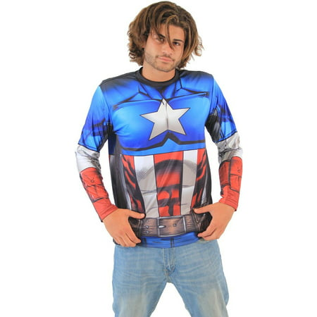 Captain America Sublimated Long Sleeve Costume T-Shirt (Captain America Costume Shirt)