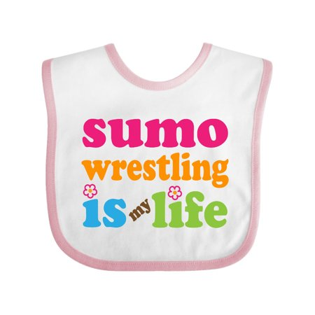 Sumo Wrestling Is My Life Baby Bib White/Pink One Size