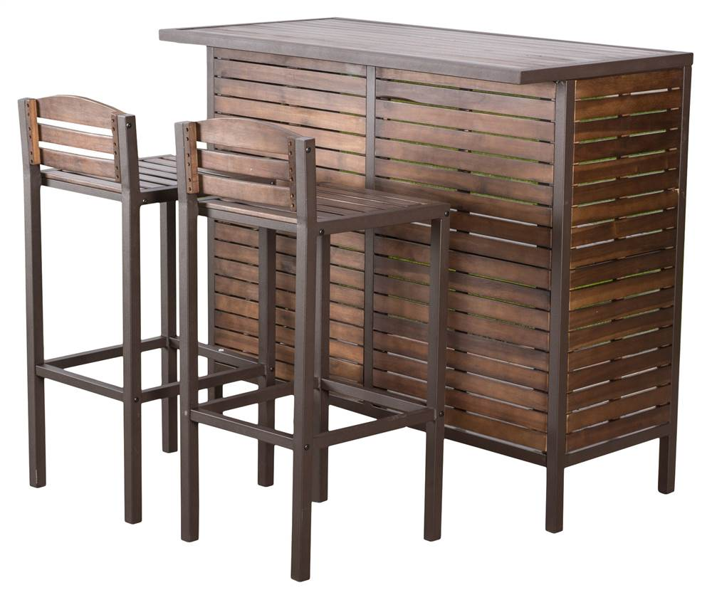 3-Pc Patio Bistro Bar Set in Brown by Best Selling Home Decor Furniture LLC