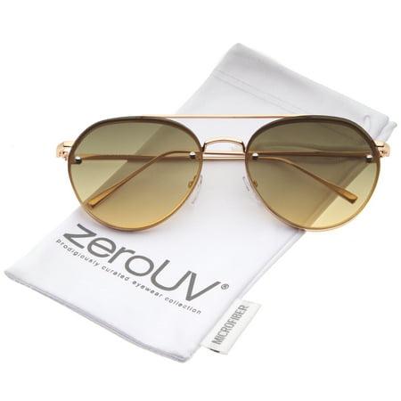 zeroUV - Modern Temple Brow Bar Rimless Gradient Colored Flat Lens Aviator Sunglasses 59mm - (Rimless Aviator Sunglasses)