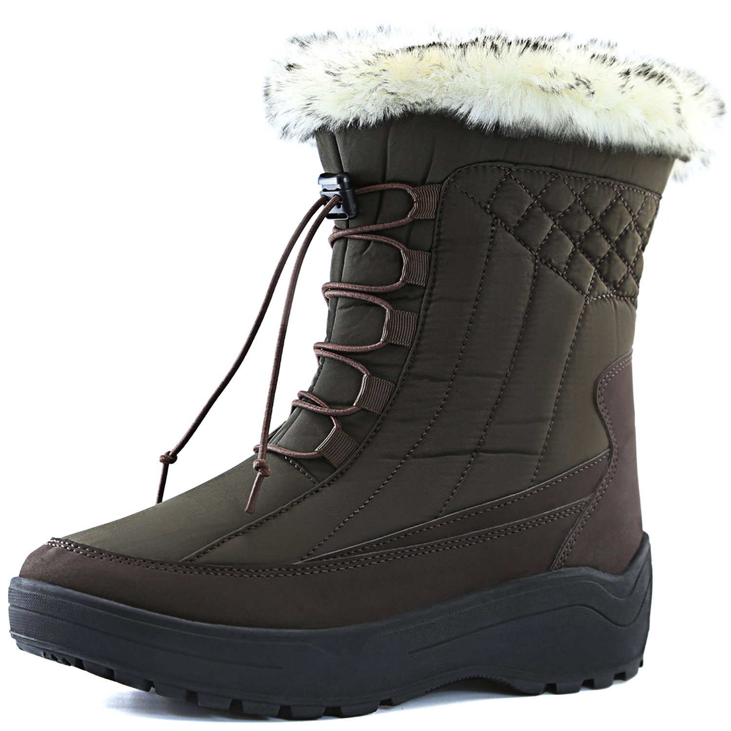 DailyShoes Woman's Ankle High locked Lace Up Warm Fur Water Resistant Eskimo Snow Boots by