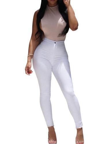 Women High Waist Stretch Slim Fit Denim Skinny Leggings Jegging Pencil Pants Trousers