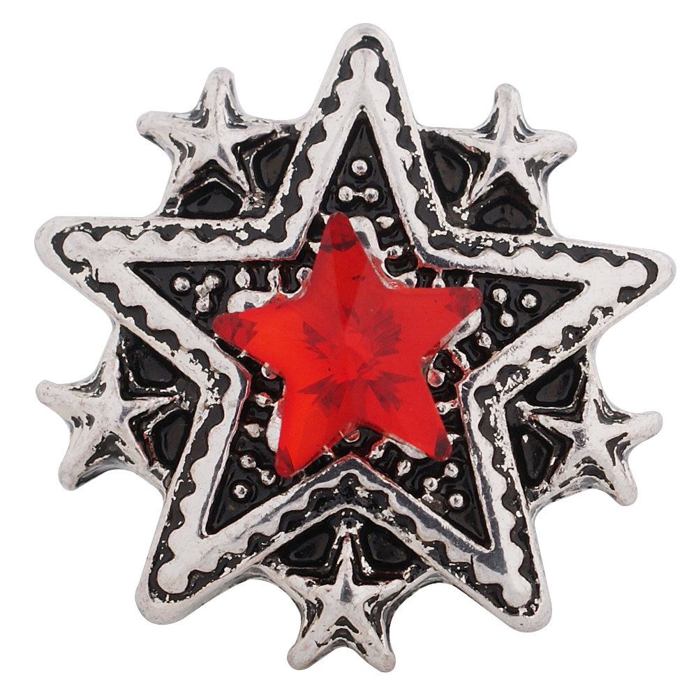 1 PC 18MM Red Star Rhinestone Silver Candy Snap Charm kc9052 CC3271