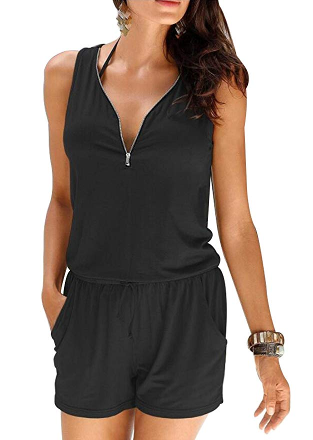 Summer Women Beach Casual V-neck Fashion Sleeveless Zipper Slim Womens Short Jumpsuit Rompers