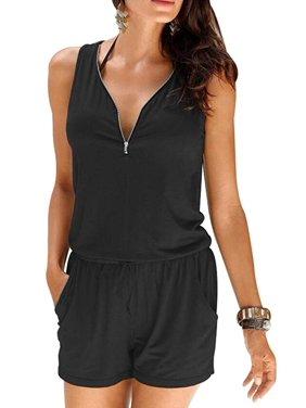 6977067c8ef8d Product Image Summer Women Beach Casual V-neck Fashion Sleeveless Zipper  Slim Womens Short Jumpsuit Rompers