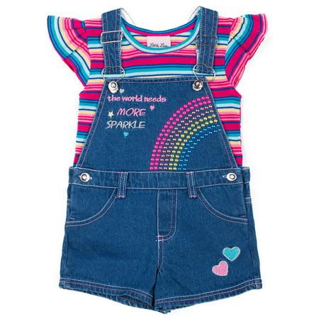 Sequin Rainbow Denim Shortall and Ruffle Tee, 2-Piece Outfit Set (Little Girls)