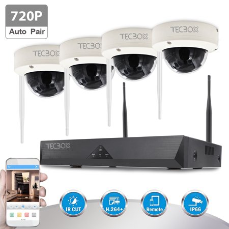 TECBOX Wireless Security Camera System 4 Channel 720P Nvr Home Video Cctv Surveillance Dvr Recorder, No Hard Drive 4 Hd 1.3Mp Night Vision, Waterproof, Indoor / Outdoor Wifi Security Camera