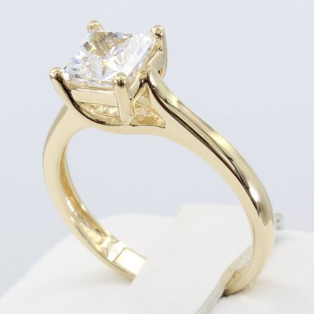 Classic Trellis Engagement Ring Setting (1.25 Ct 14K Real Yellow Gold Square Princess Cut 4 Prong Trellis Setting Classic Solitaire Engagement Wedding Bridal Propose Promise Ring )