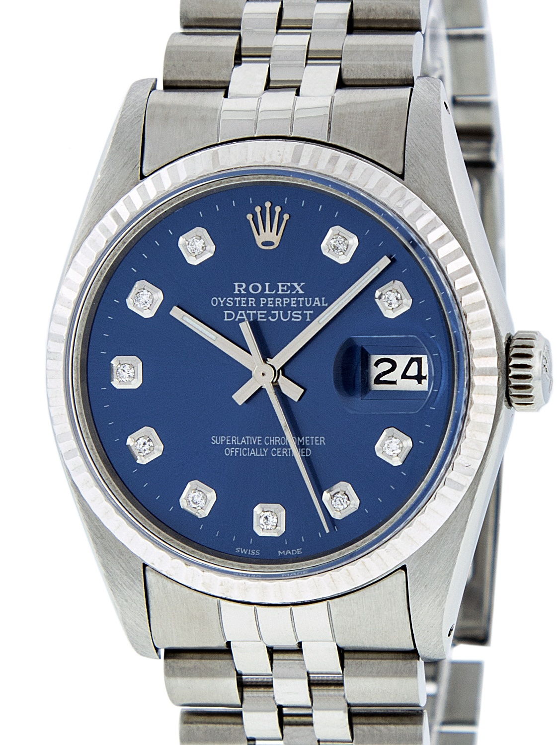 Used Rolex Mens Datejust Steel & White Gold Blue Diamond Watch 16014 Jubilee by