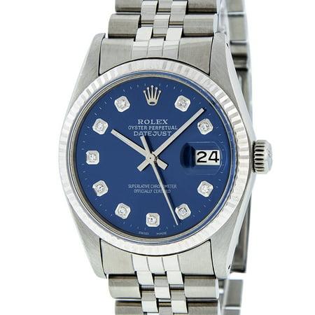 Pre-Owned Mens Datejust Steel & White Gold Blue Diamond Watch 16014 Jubilee
