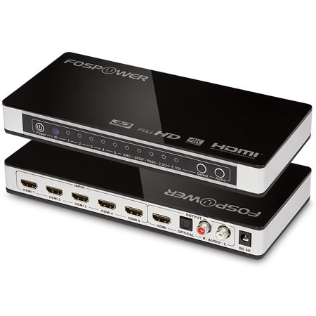 5 x 1 HDMI Switch [Ultra HD 4K x 2K], FosPower 5 Ports HDMI Audio Extractor Switch Converter with Optical & L/R Audio Output - 3D 1080p | ARC - Includes IR Remote & Power Adapter