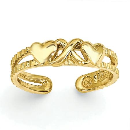 - 14K Yellow Gold Hearts & X Toe Ring