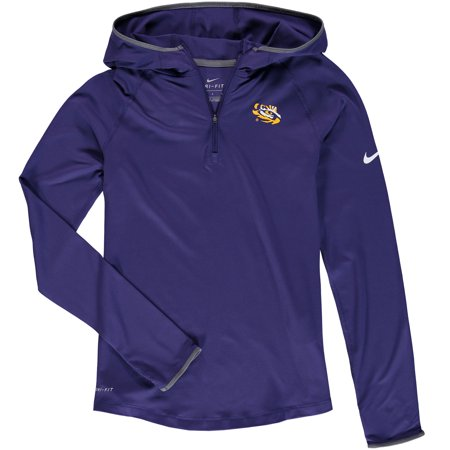 LSU Tigers Nike Youth Girls Element Logo 1/4 Zip Hoodie - Purple - Yth (Nike Outfit)