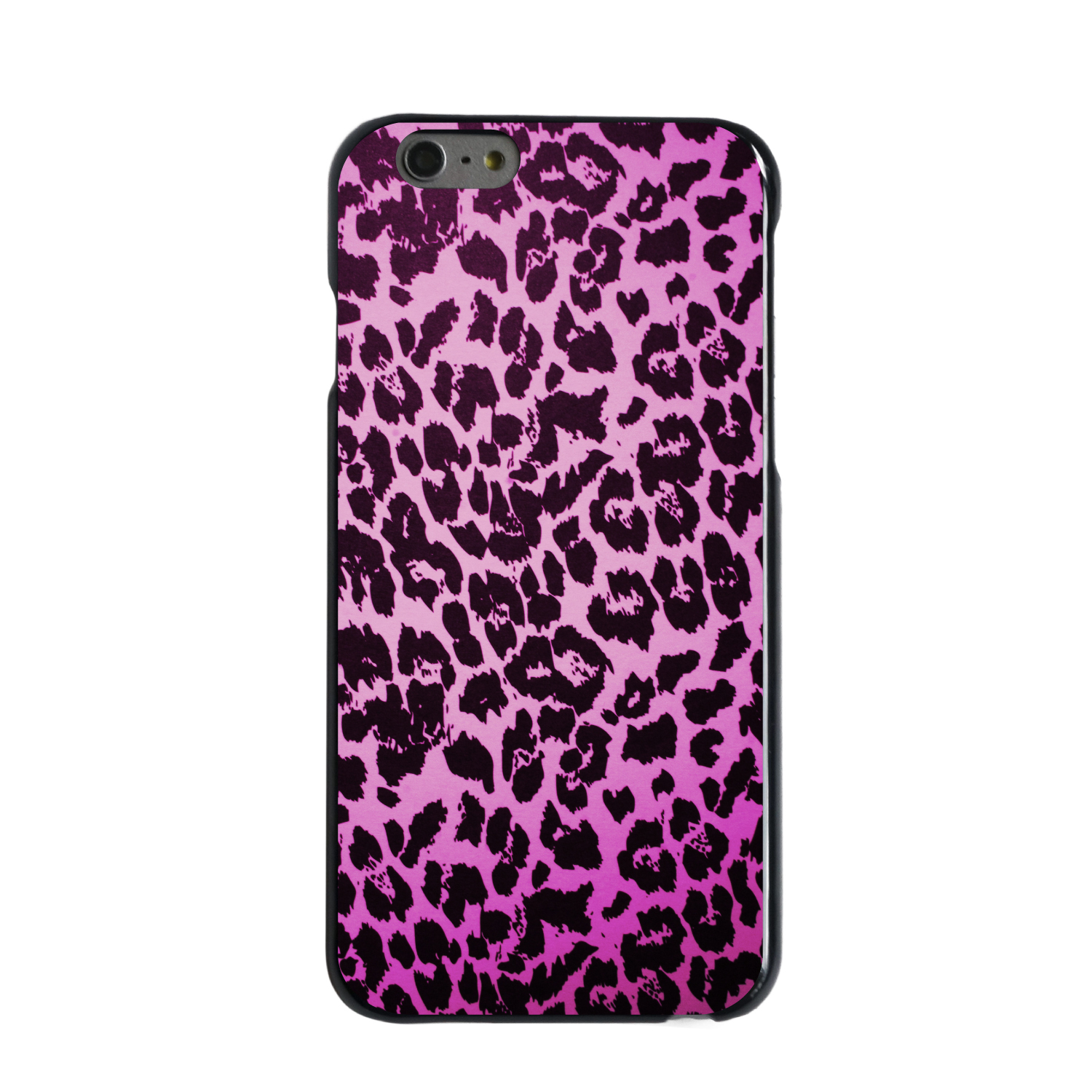 "CUSTOM Black Hard Plastic Snap-On Case for Apple iPhone 6 PLUS / 6S PLUS (5.5"" Screen) - Pink Purple Leopard Skin Spots"