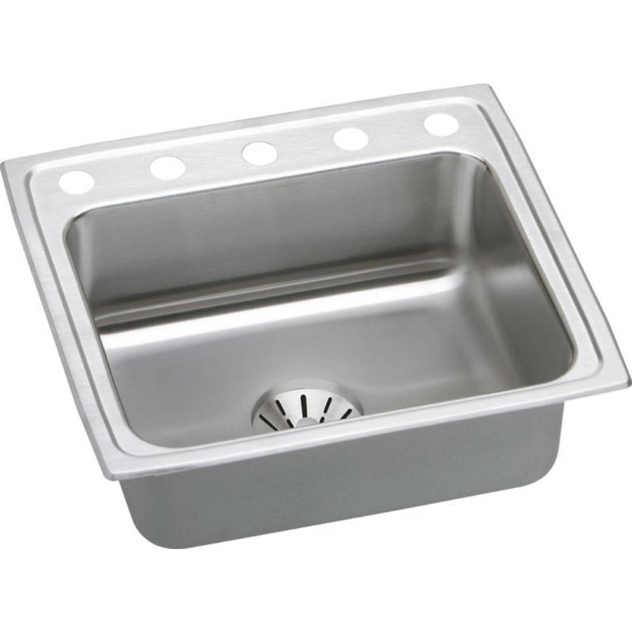 Elkay DLR221910PD5 Gourmet Lustertone Stainless Steel Single Bowl Top Mount Sink Kit with 5 Faucet Holes