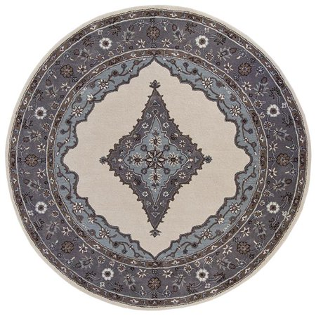 Tufted Mohtesham Open Field Ivory & Frost Grey Round Area Rug, 12 x 12 ft.