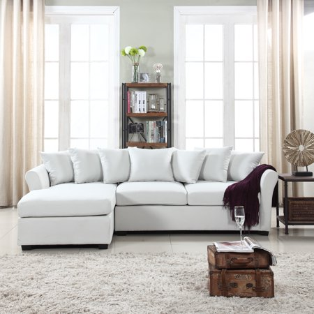 Classic L-Shape Couch Large Linen Fabric Sectional Sofa with Chaise Lounge,  Beige
