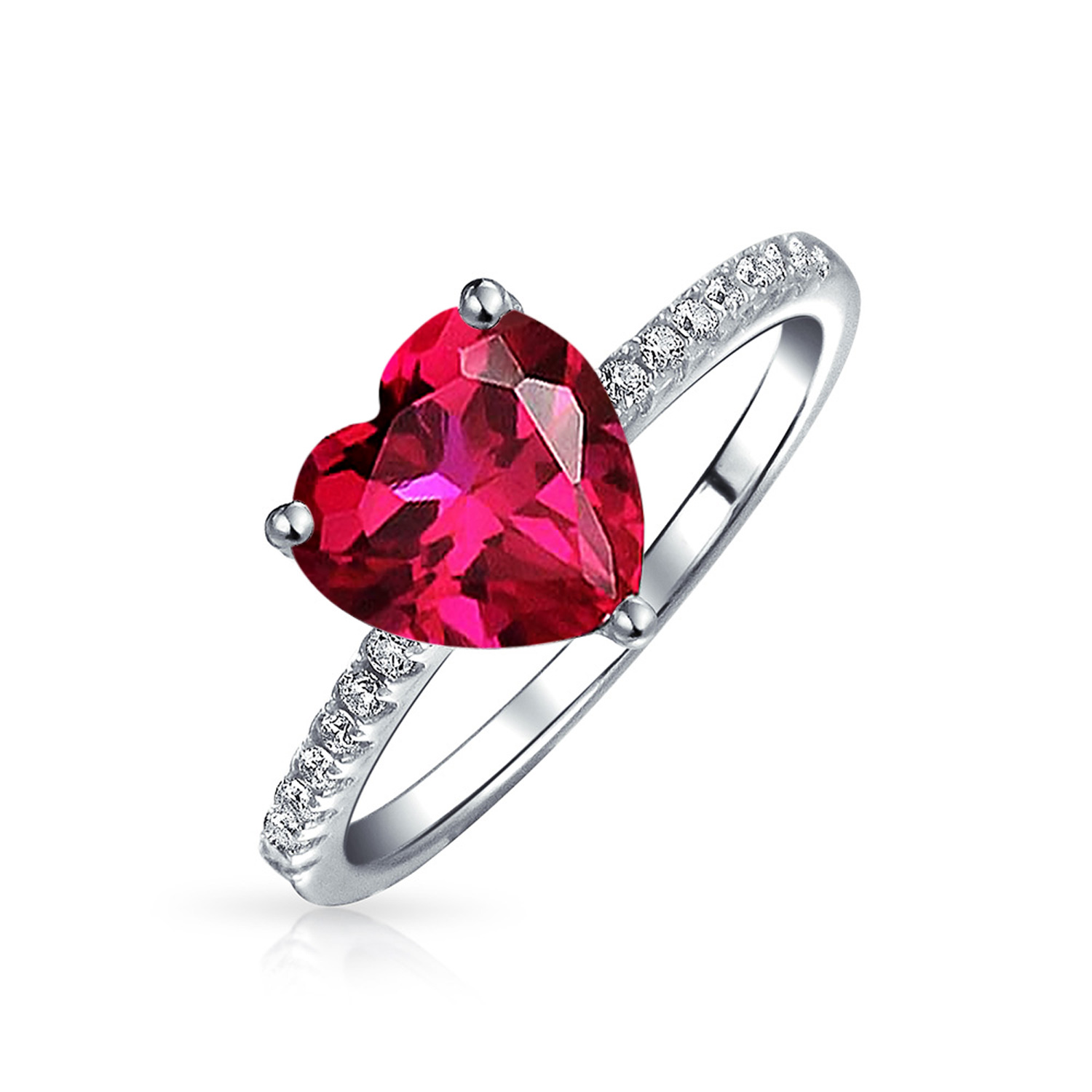 Princess Kylie Red Pave Cubic Zirconia Flower Shaped Ring Rhodium Plated Sterling Silver Size 5