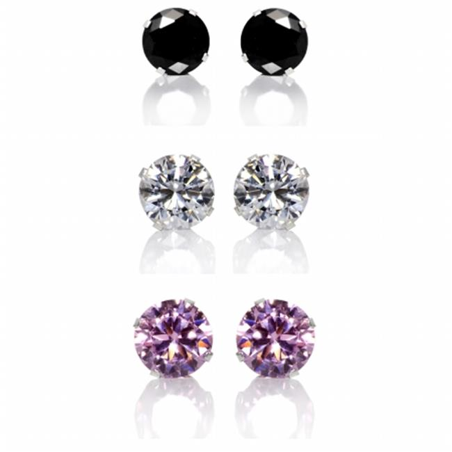 Precious Stars Jewelry Set of 3 Pair Sterling Silver 8-mm Black  Clear and Pink Cubic Zirconia Earring Studs