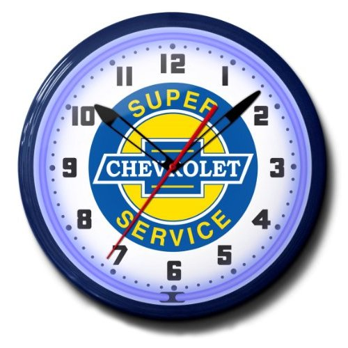 "Super Chevrolet Service Chevy GM Emblem Neon Wall Clock 20"" Made In USA, 110V Electric, Aluminum Spun Case, Powder Coated Finish, Glass Face, Brass Movement, Pull Chain, 1 Year Warranty"