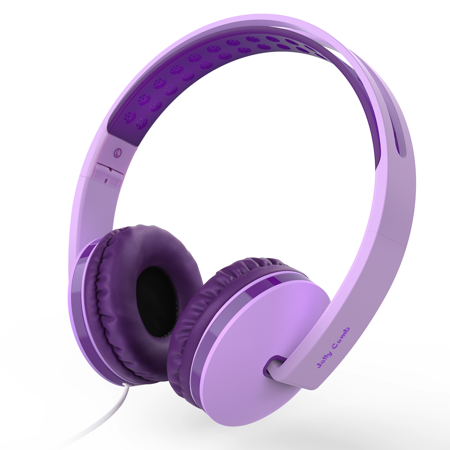 Jelly Comb On Ear Headphones with Mic, Foldable Corded Headphones Wired Headsets with Microphone, Volume Control for Cell Phone, Tablet, PC, Laptop, MP3/4, Video Game (Pink Purple & Deep Purple)