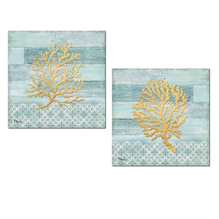 Golden Coral - Lovely Teal Blue and Gold Coastal Coral Set; Two 12x12in Paper Poster Prints (Printed on Paper, Not Wood)