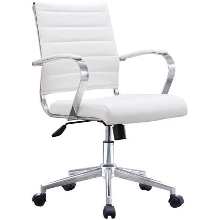 White Office Chair Ribbed Modern Ergonomic Mid Back PU Leather With Cushion Seat Task Swivel Tilt Arms Conference Room Chairs, Manager, Executive, Boss Eco Leather Managers Chair