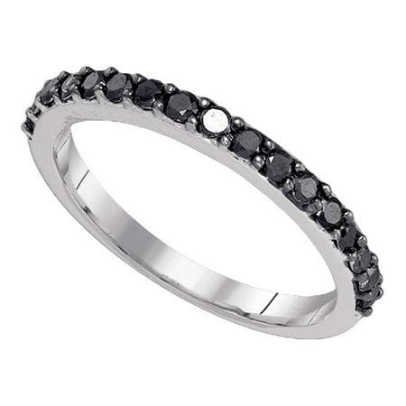 Black Diamond Wedding Band Solid 10k White Gold Semi Eternity Ring Stackable Style Round Pave Set 1/2 - Style Semi Set