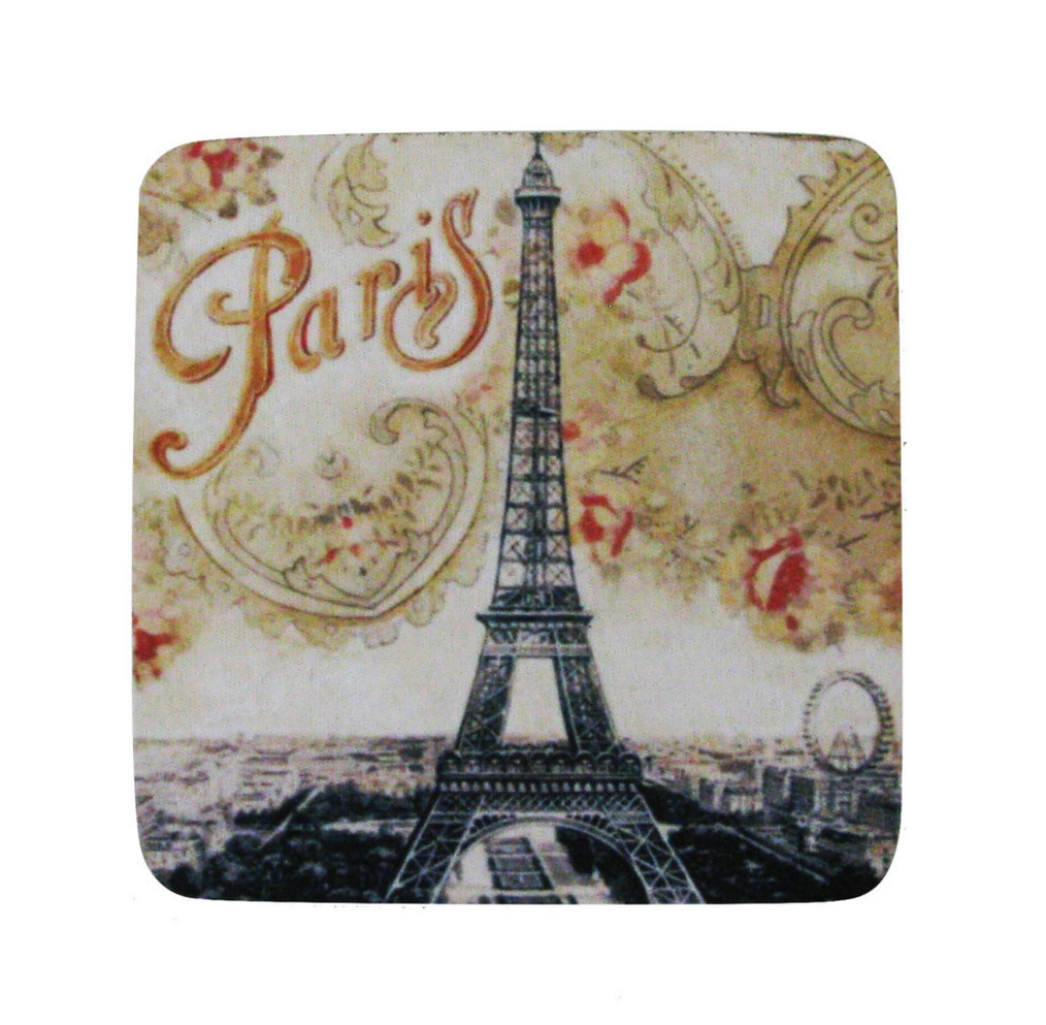 Pack of 8 Absorbent French Parisian Eiffel Tower Print Cocktail Drink Coasters 4""
