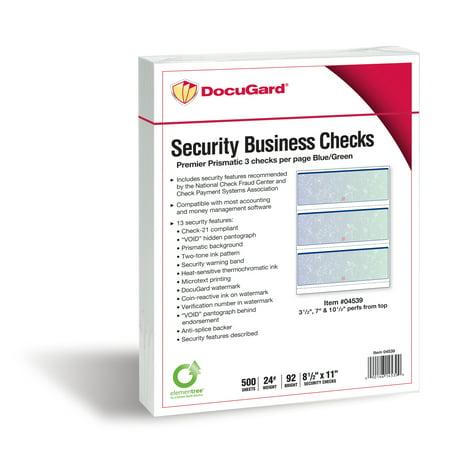 - Docugard Premier Prismatic Business Checks, 3 Checks Per Page, Blue and Green, 24 Pound, 8.5 x 11 Inches, 500 Sheets per Ream (04539)