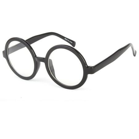 Mens Womens Fashion Round Retro Plastic Frame Clear Lens Eye Glasses Large (Round Frame Glasses Amazon)