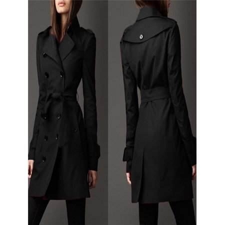 Womens Winter Lapel Double-Breasted SlimLong Trench Coat Overcoat