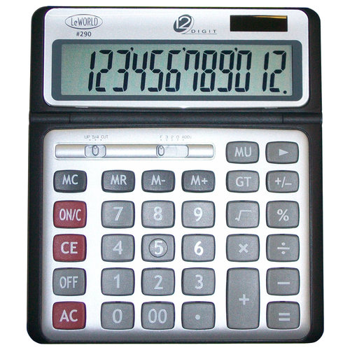 12-Digit Jumbo Display Desktop Dual-Power Calculator