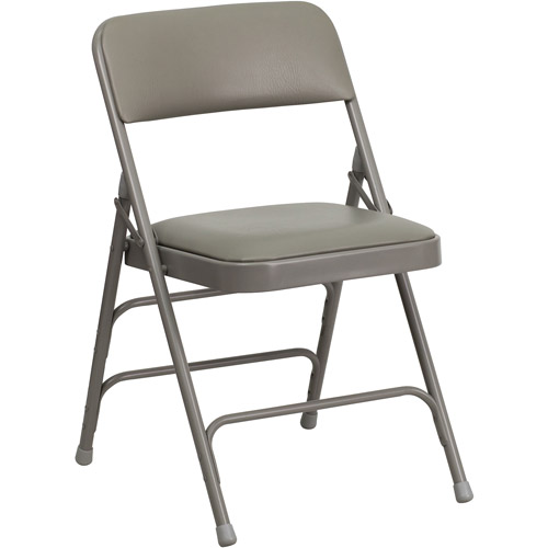 Hercules Hinged Vinyl Padded Folding Chair   4 Pack, Gray